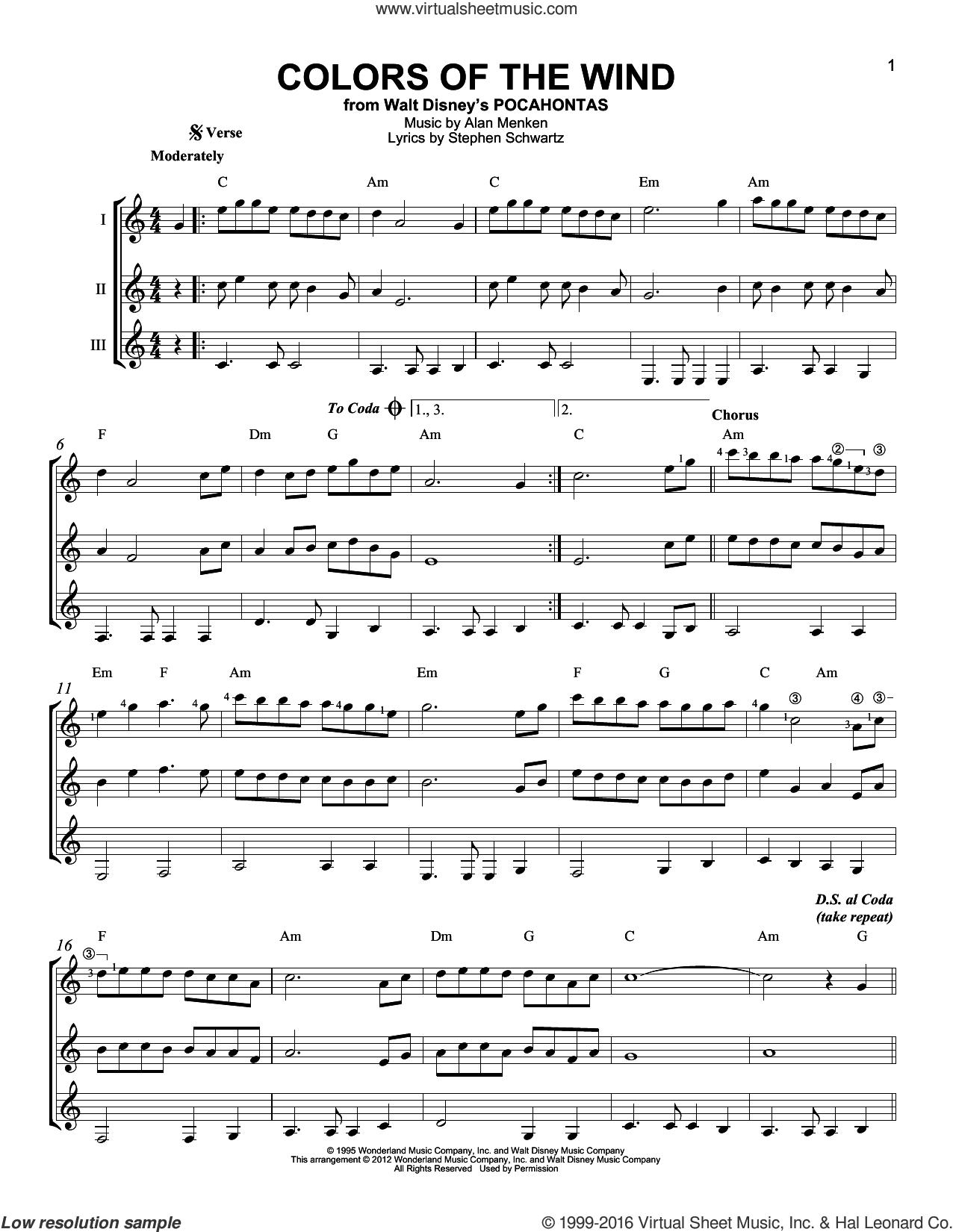 Colors Of The Wind sheet music for guitar ensemble by Alan Menken, Alan Menken & Stephen Schwartz, Stephen Schwartz and Vanessa Williams, intermediate skill level
