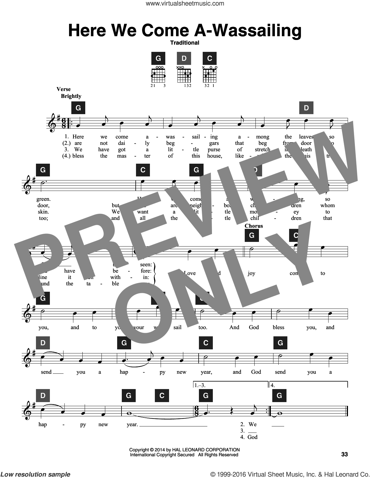 Here We Come A-Wassailing sheet music for guitar solo (ChordBuddy system)  and Travis Perry, Christmas carol score, intermediate guitar (ChordBuddy system). Score Image Preview.