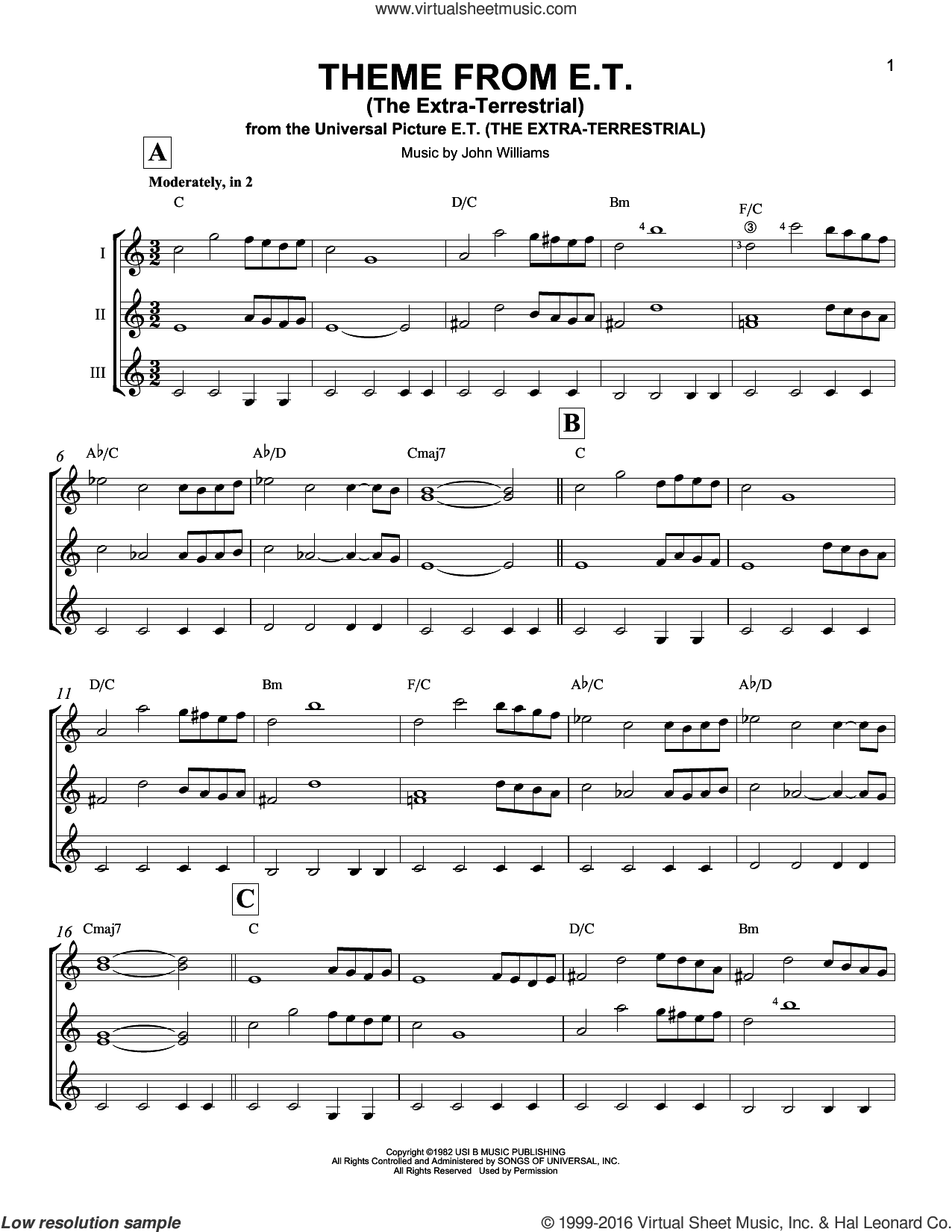 Theme From E.T. (The Extra-Terrestrial) sheet music for guitar ensemble by John Williams, intermediate skill level