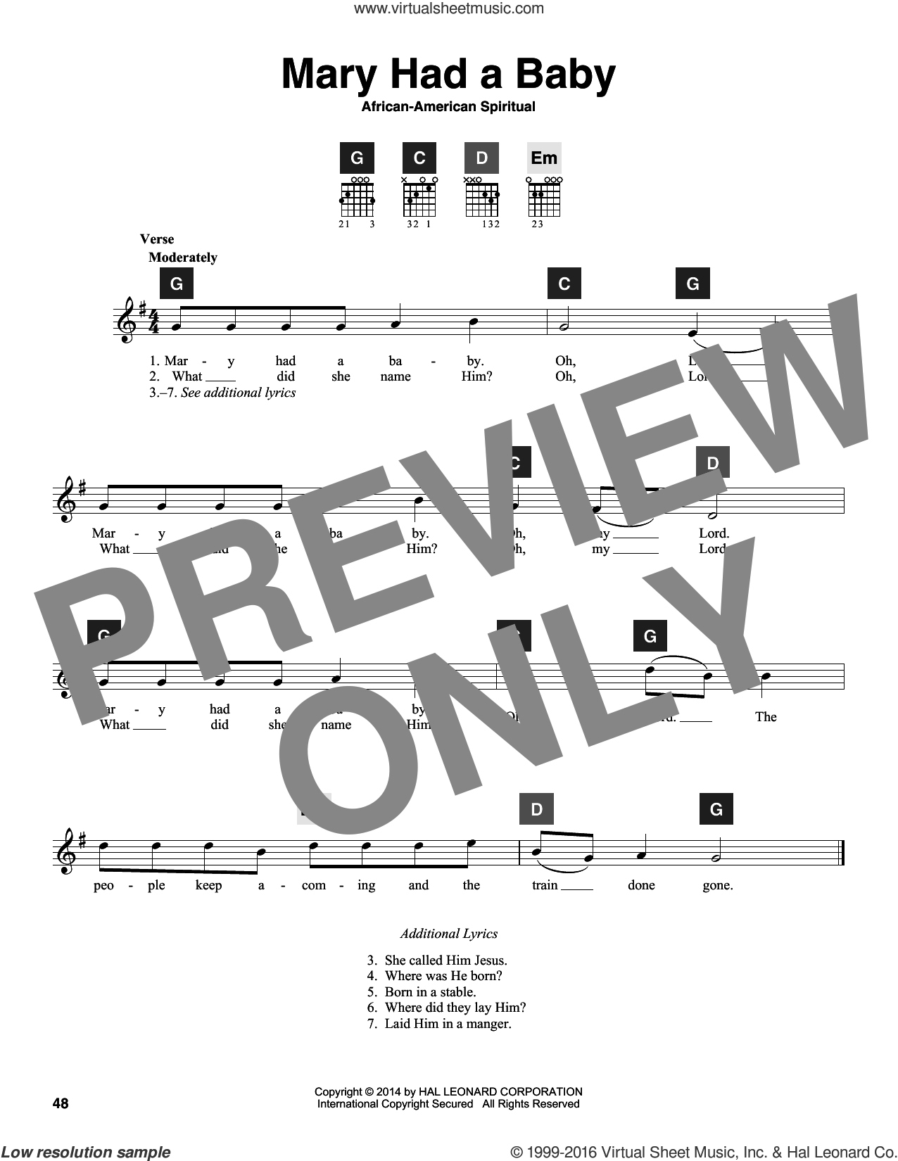 Mary Had A Baby sheet music for guitar solo (ChordBuddy system)  and Travis Perry. Score Image Preview.