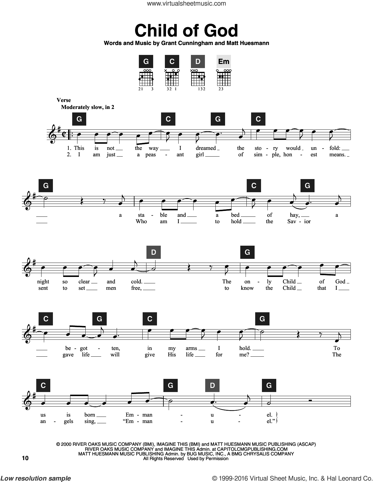 Child Of God sheet music for guitar solo (ChordBuddy system) by Grant Cunningham, Amy Grant and Travis Perry. Score Image Preview.