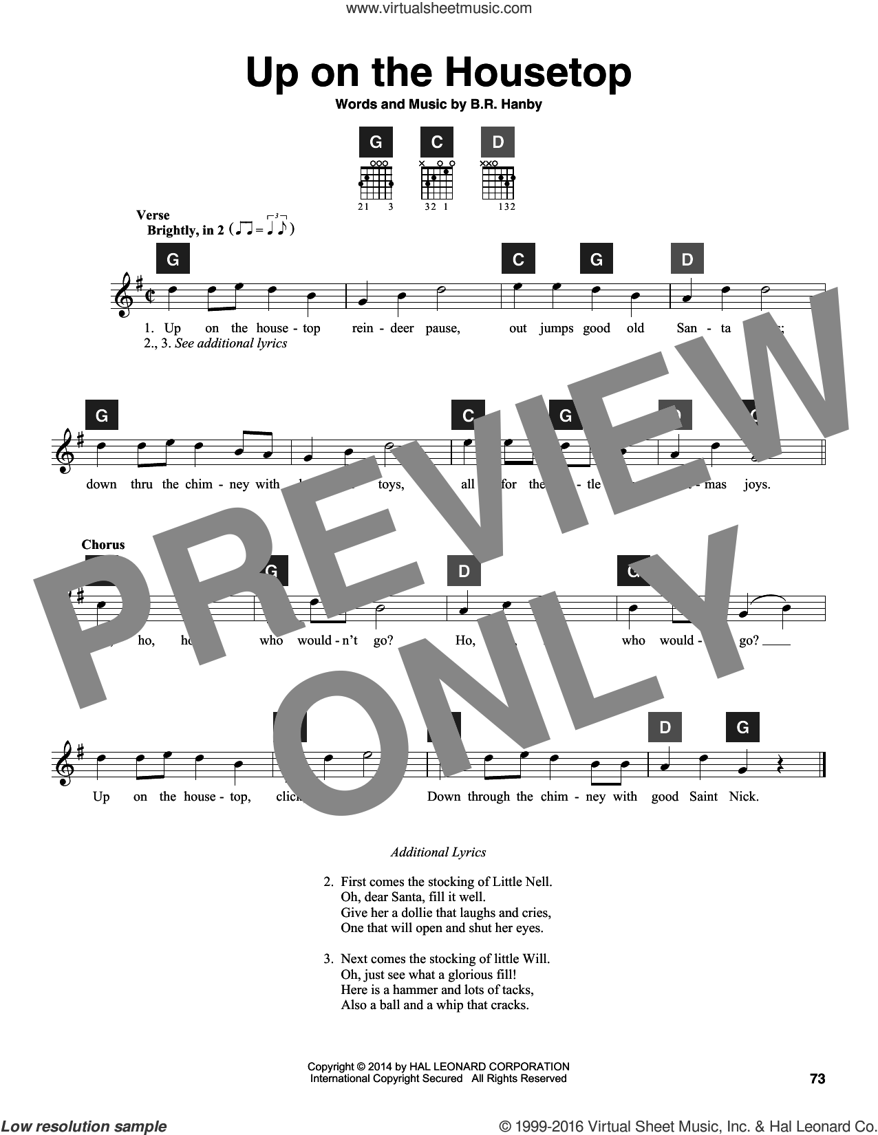 Up On The Housetop sheet music for guitar solo (ChordBuddy system) by Benjamin Hanby. Score Image Preview.
