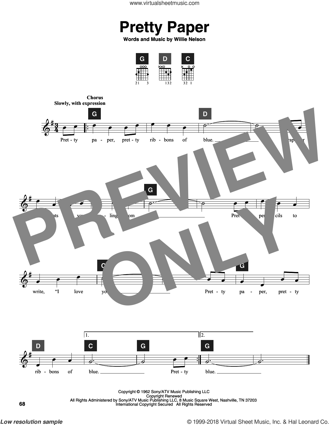 Pretty Paper sheet music for guitar solo (ChordBuddy system) by Willie Nelson and Roy Orbison. Score Image Preview.