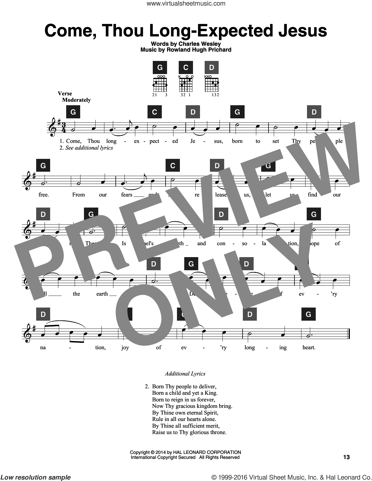 Come, Thou Long-Expected Jesus sheet music for guitar solo (ChordBuddy system) by Charles Wesley, Travis Perry and Rowland Prichard, intermediate guitar (ChordBuddy system). Score Image Preview.