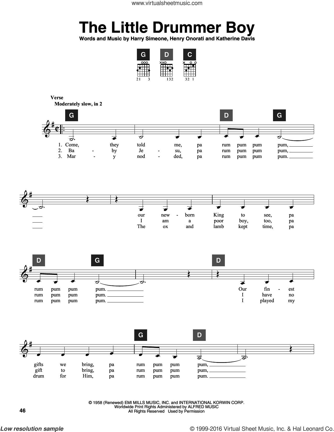 The Little Drummer Boy sheet music for guitar solo (ChordBuddy system) by Katherine Davis, Travis Perry, Harry Simeone and Henry Onorati, intermediate guitar (ChordBuddy system)