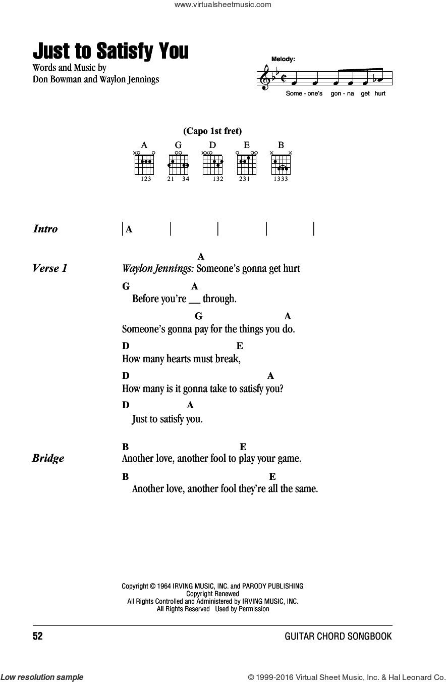 Just To Satisfy You sheet music for guitar (chords) by Willie Nelson, Don Bowman and Waylon Jennings, intermediate skill level