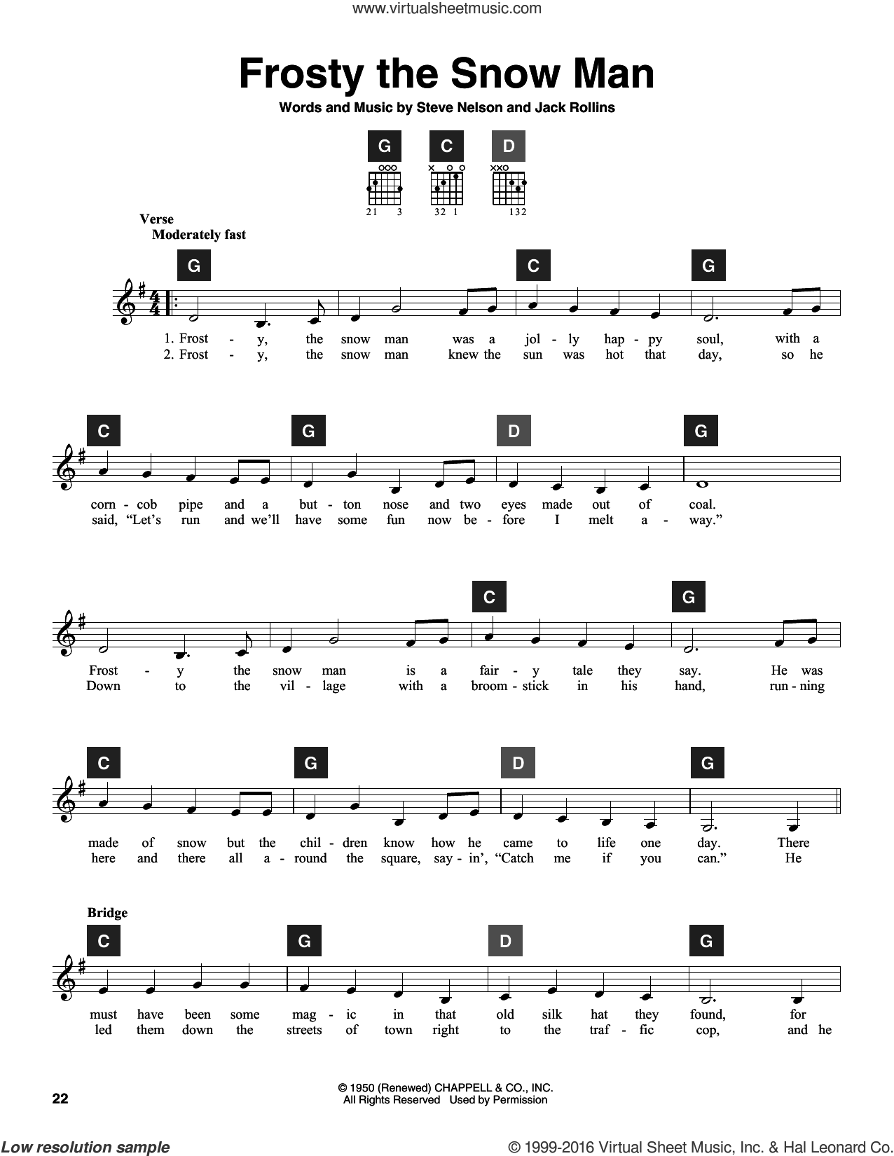 Frosty The Snow Man sheet music for guitar solo (ChordBuddy system) by Steve Nelson, Travis Perry and Jack Rollins, Christmas carol score, intermediate guitar (ChordBuddy system). Score Image Preview.