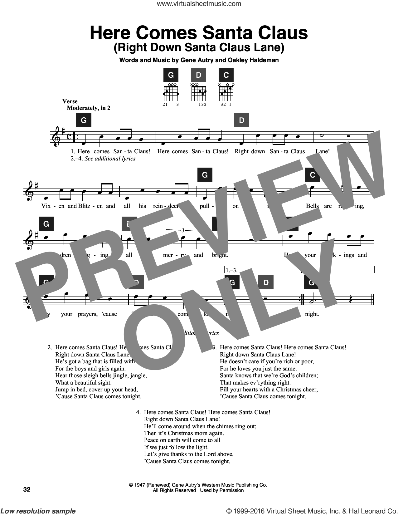Here Comes Santa Claus (Right Down Santa Claus Lane) sheet music for guitar solo (ChordBuddy system) by Gene Autry, Carpenters, Travis Perry and Oakley Haldeman, intermediate guitar (ChordBuddy system)