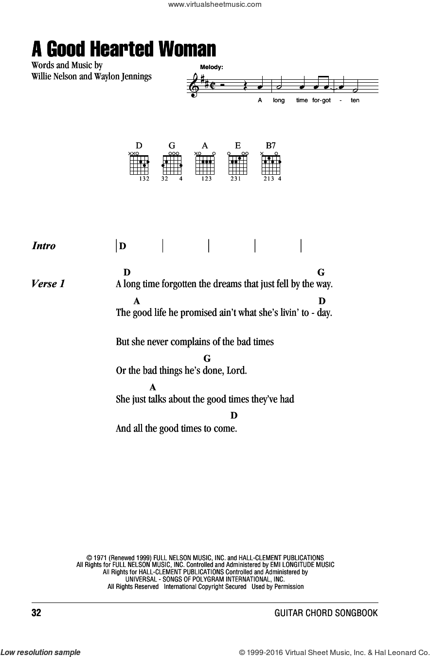 A Good Hearted Woman sheet music for guitar (chords) by Willie Nelson and Waylon Jennings, intermediate skill level