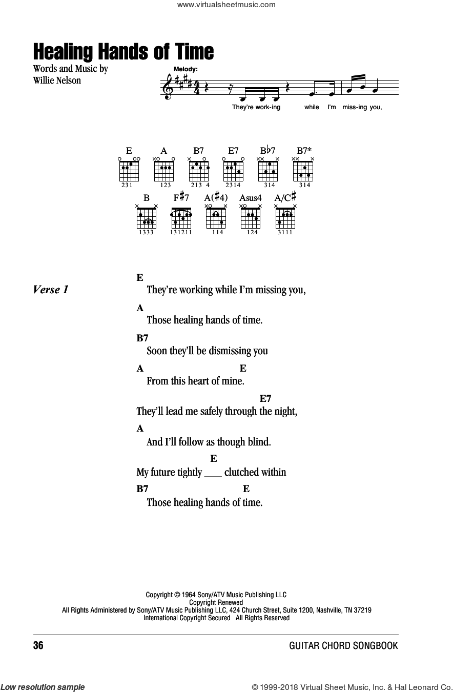 Healing Hands Of Time sheet music for guitar (chords) by Willie Nelson, intermediate. Score Image Preview.