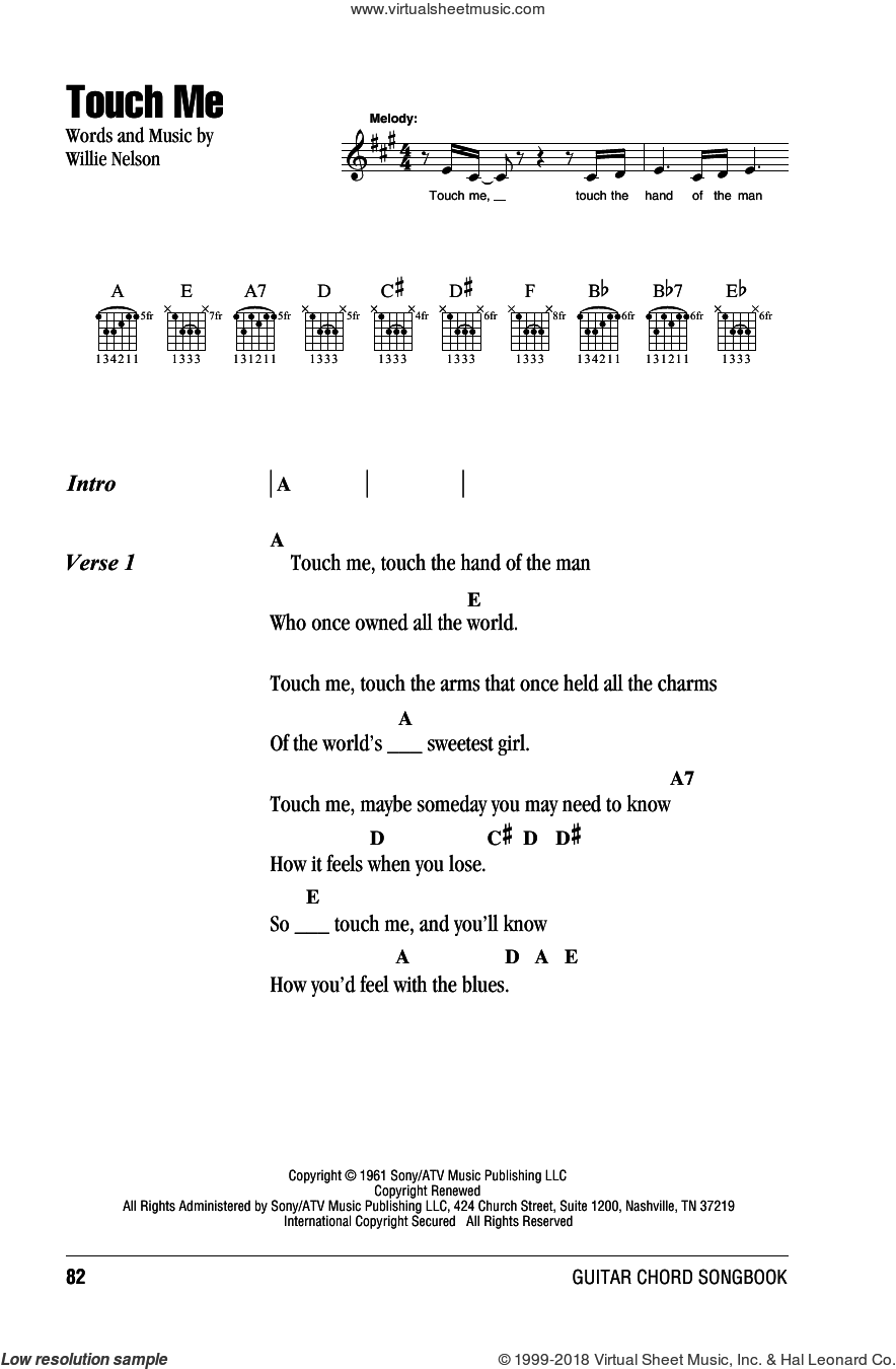 Touch Me sheet music for guitar (chords) by Willie Nelson. Score Image Preview.