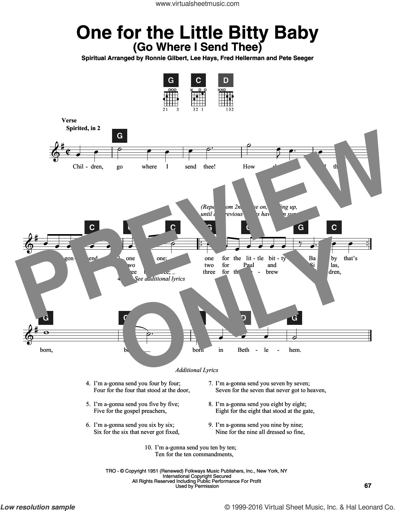 One For The Little Bitty Baby (Go Where I Send Thee) sheet music for guitar solo (ChordBuddy system) by Pete Seeger, Lee Hays and Ronnie Gilbert. Score Image Preview.
