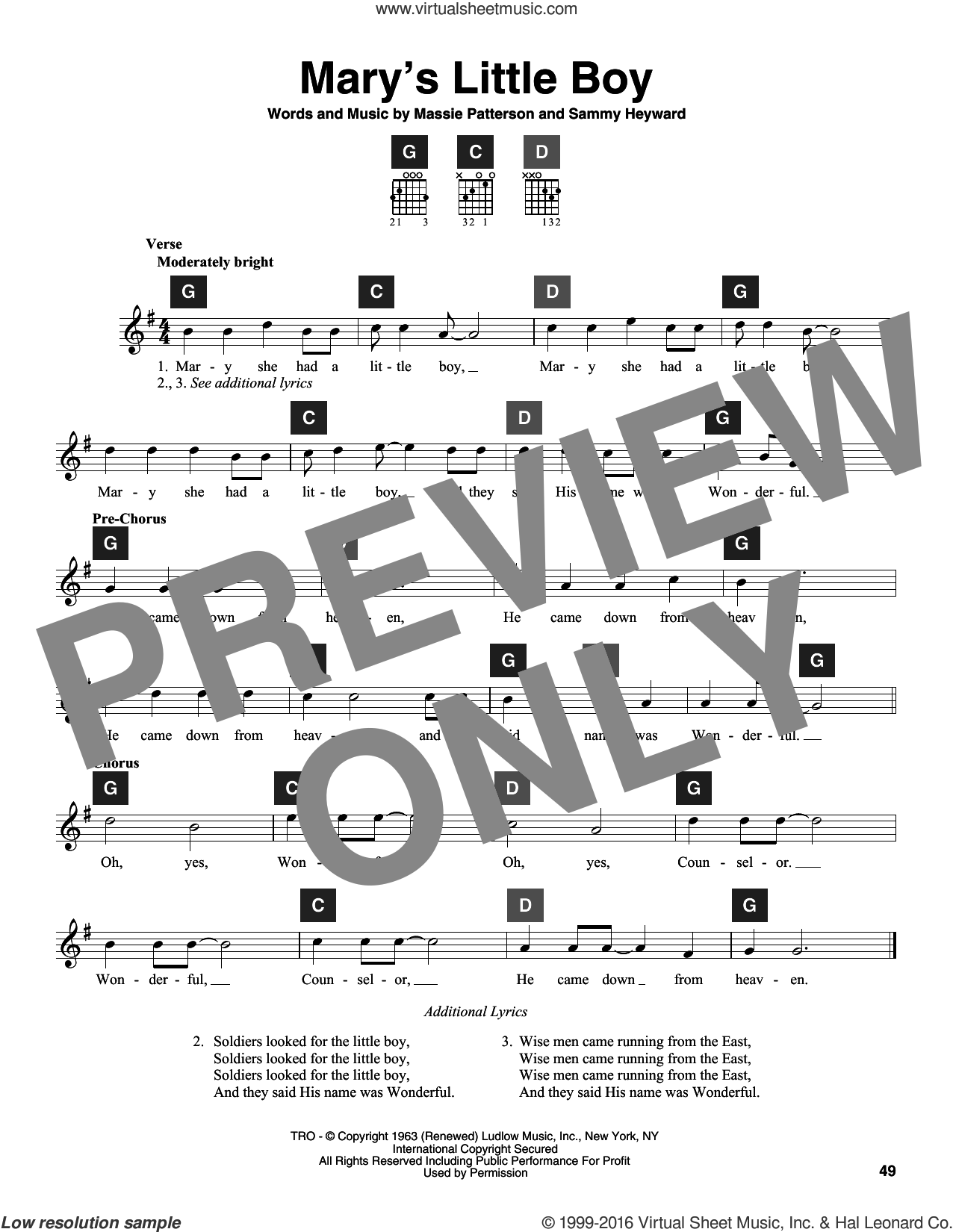 Mary's Little Boy sheet music for guitar solo (ChordBuddy system) by Sammy Heyward, Travis Perry and Massie Patterson, intermediate guitar (ChordBuddy system)