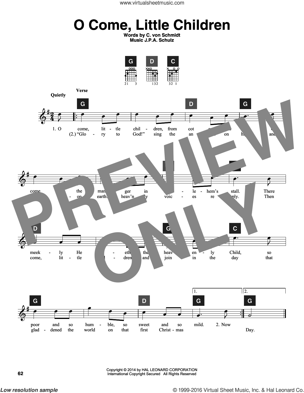 O Come, Little Children sheet music for guitar solo (ChordBuddy system) by J.A.P. Schulz and Cristoph Von Schmid. Score Image Preview.