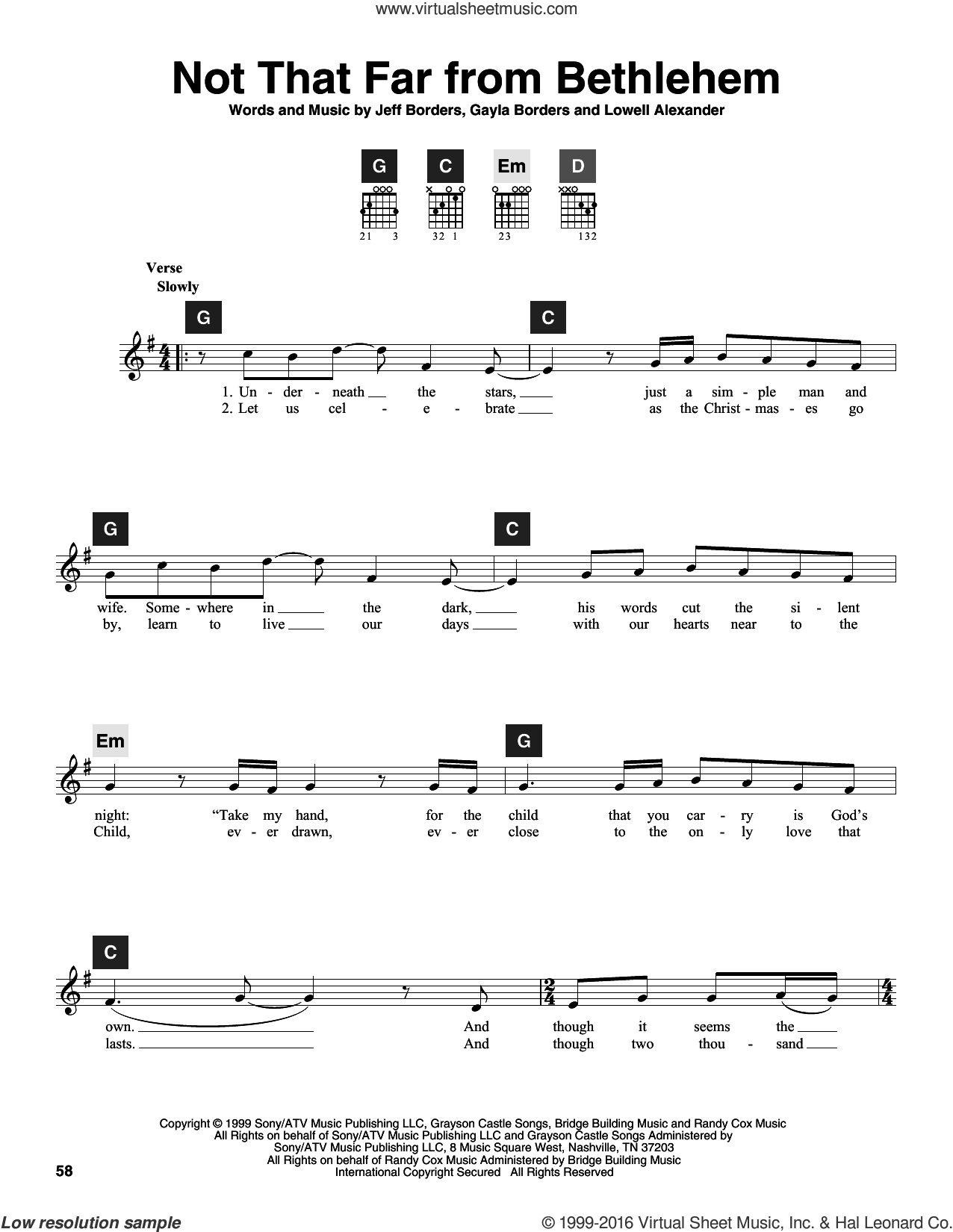 Not That Far From Bethlehem sheet music for guitar solo (ChordBuddy system) by Lowell Alexander and Gayla Borders. Score Image Preview.