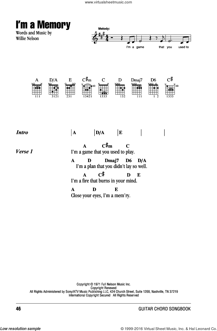 I'm A Memory sheet music for guitar (chords) by Willie Nelson, intermediate skill level