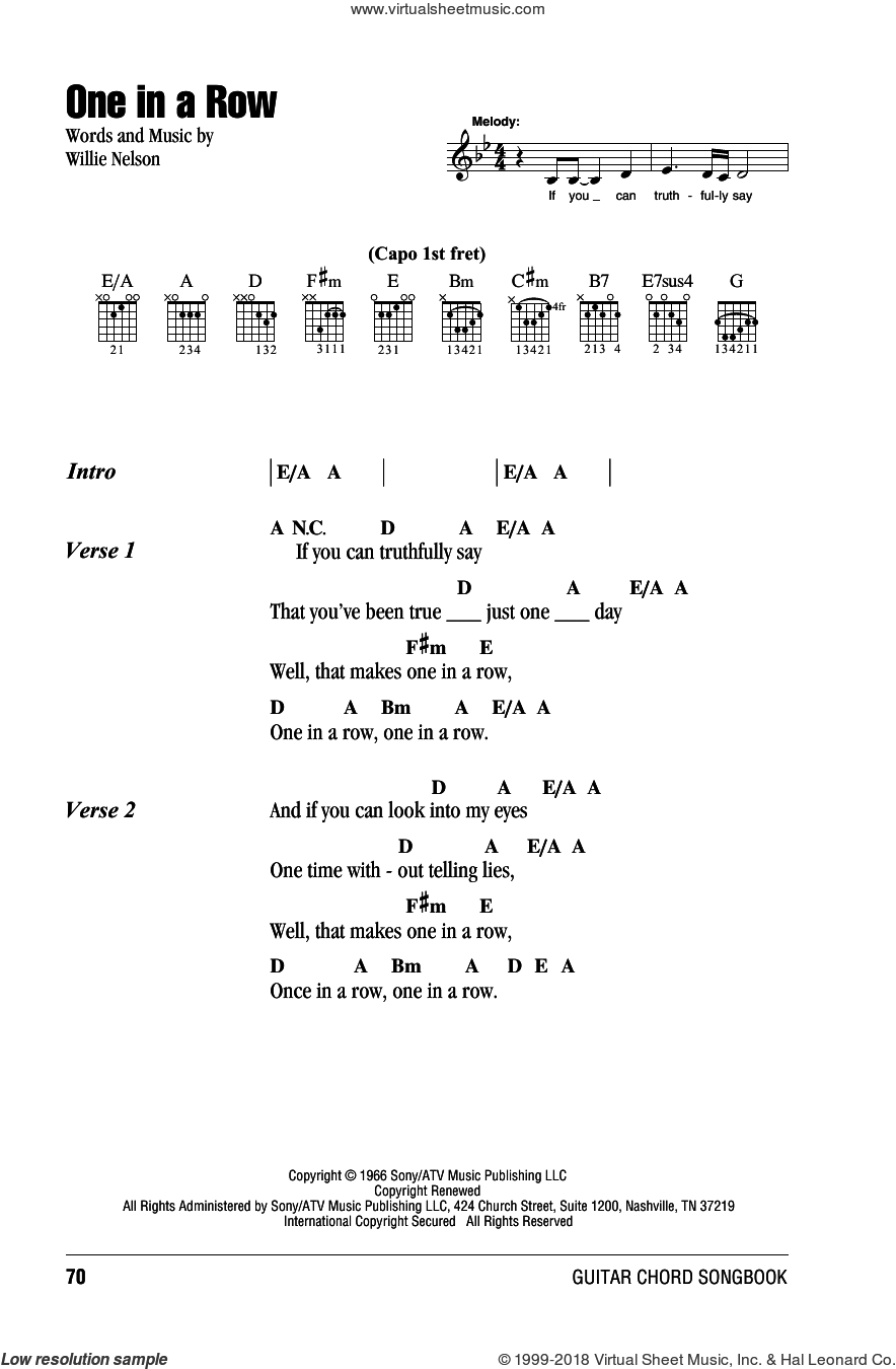 One In A Row sheet music for guitar (chords) by Willie Nelson, intermediate skill level
