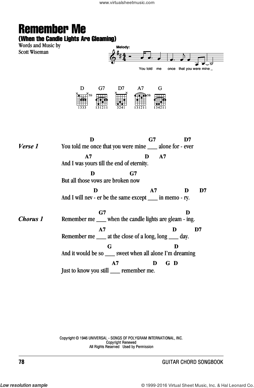 Remember Me (When The Candle Lights Are Gleaming) sheet music for guitar (chords) by Willie Nelson and Scott Wiseman, intermediate skill level