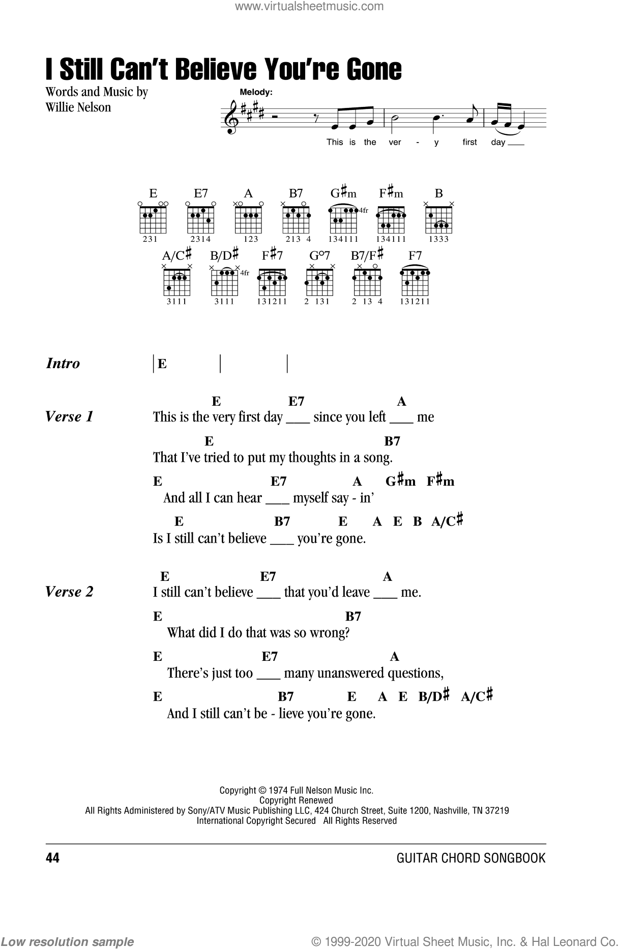 I Still Can't Believe You're Gone sheet music for guitar (chords) by Willie Nelson, intermediate. Score Image Preview.