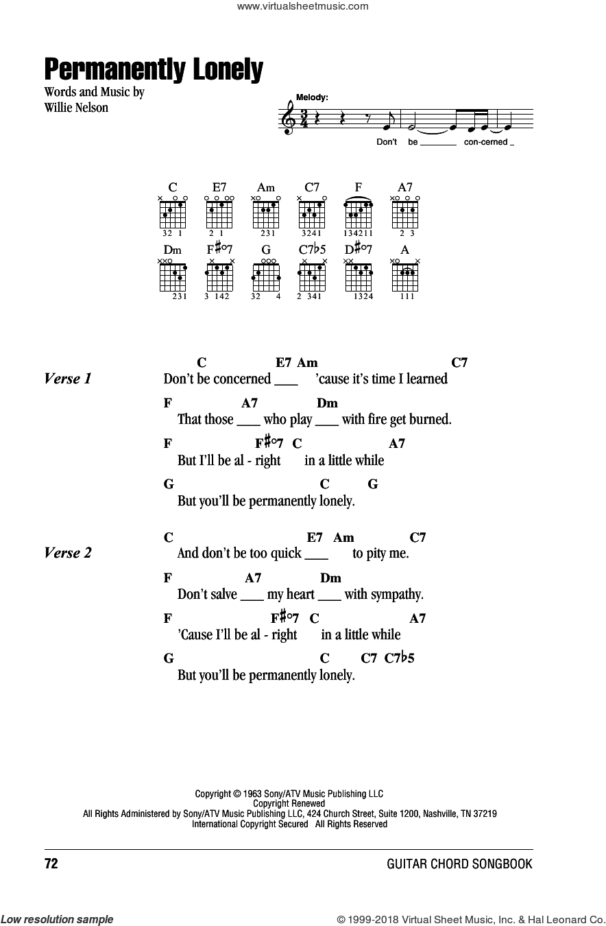 Permanently Lonely sheet music for guitar (chords) by Willie Nelson, intermediate. Score Image Preview.