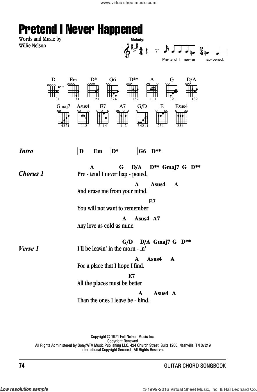 Pretend I Never Happened sheet music for guitar (chords) by Willie Nelson, intermediate guitar (chords). Score Image Preview.