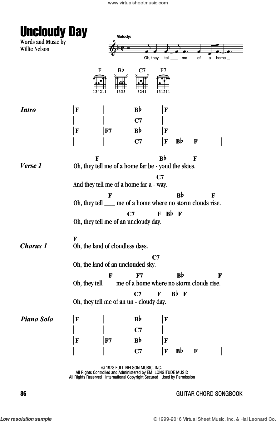 Uncloudy Day sheet music for guitar (chords) by Willie Nelson. Score Image Preview.
