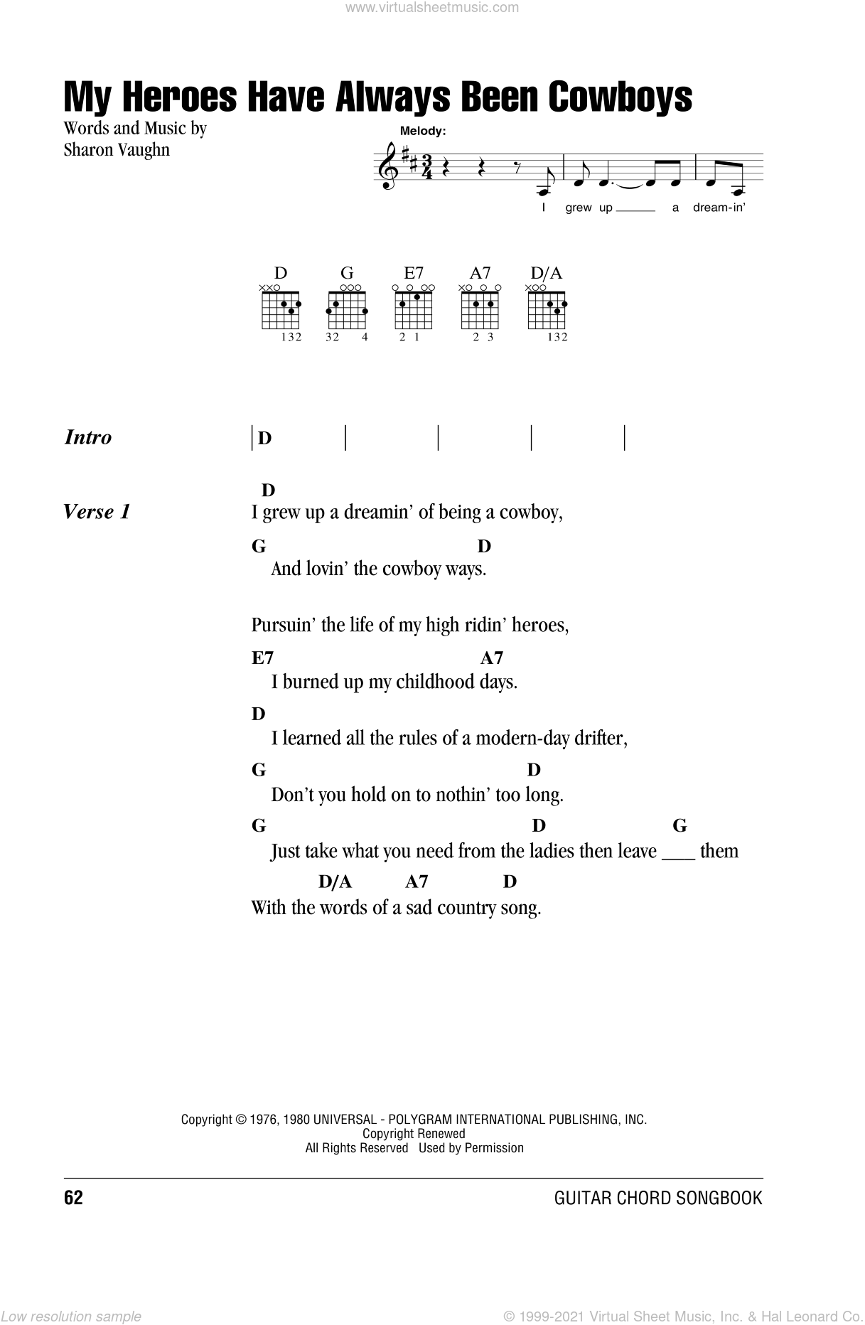 My Heroes Have Always Been Cowboys sheet music for guitar (chords) by Willie Nelson and Sharon Vaughn, intermediate skill level