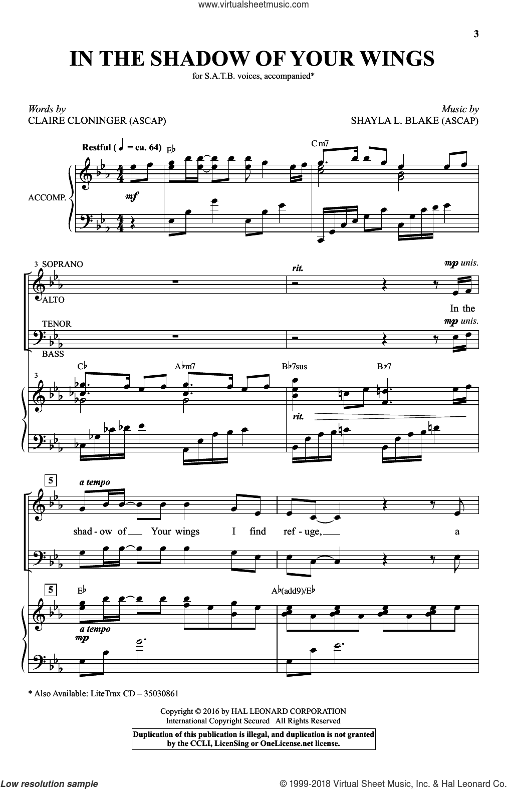 In The Shadow Of Your Wings sheet music for choir and piano (SATB) by Claire Cloninger. Score Image Preview.