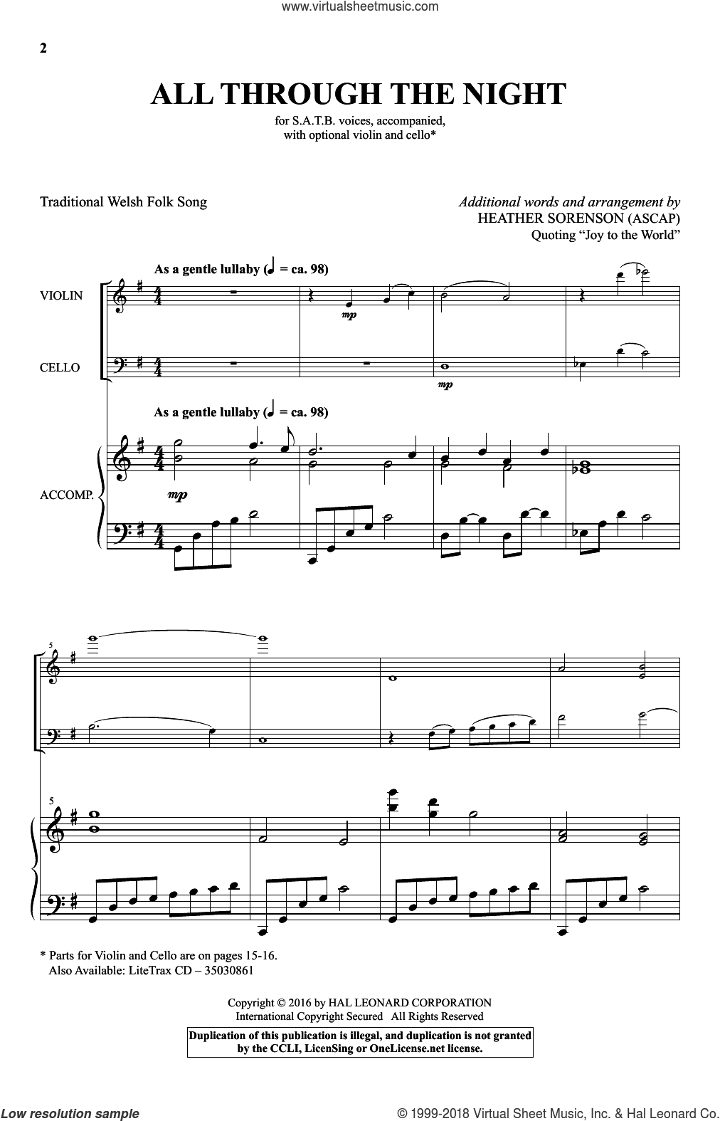 All Through The Night sheet music for choir  and Heather Sorenson. Score Image Preview.