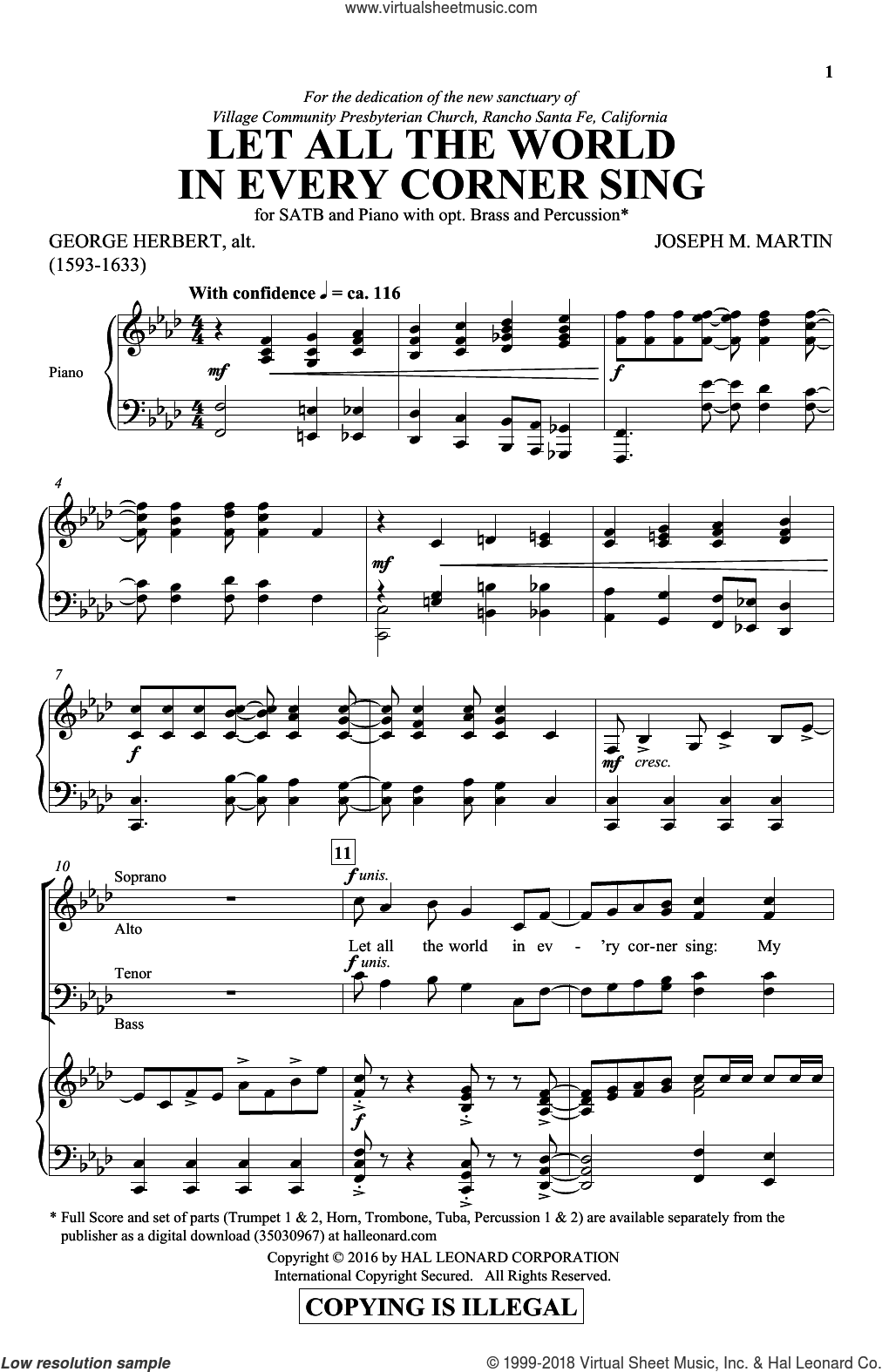 Let All The World In Every Corner Sing sheet music for choir (SATB) by Joseph M. Martin and George Herbert, intermediate choir (SATB). Score Image Preview.