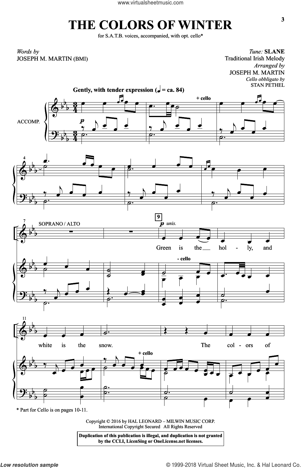 The Colors Of Winter sheet music for choir by Joseph M. Martin and Miscellaneous, Christmas carol score, intermediate choir. Score Image Preview.