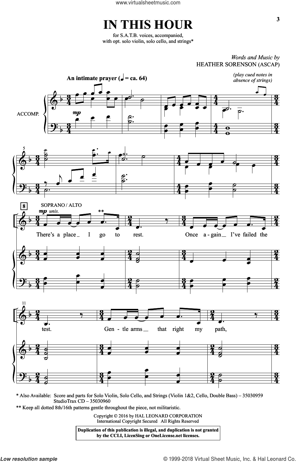 In This Hour sheet music for choir (SATB) by Heather Sorenson. Score Image Preview.