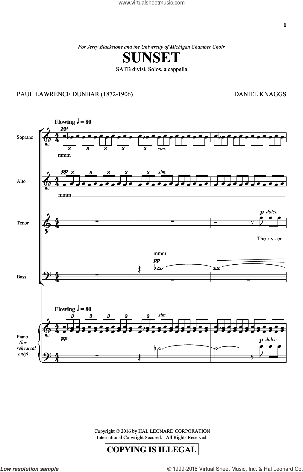 Sunset sheet music for choir (SATB: soprano, alto, tenor, bass) by Daniel Knaggs, intermediate skill level