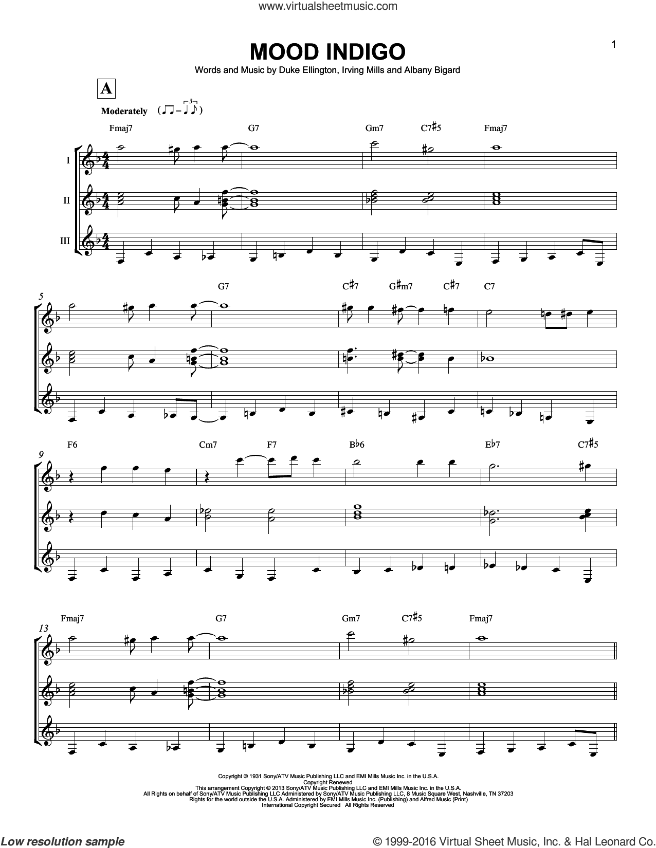 Mood Indigo sheet music for guitar ensemble by Irving Mills, Albany Bigard and Duke Ellington. Score Image Preview.