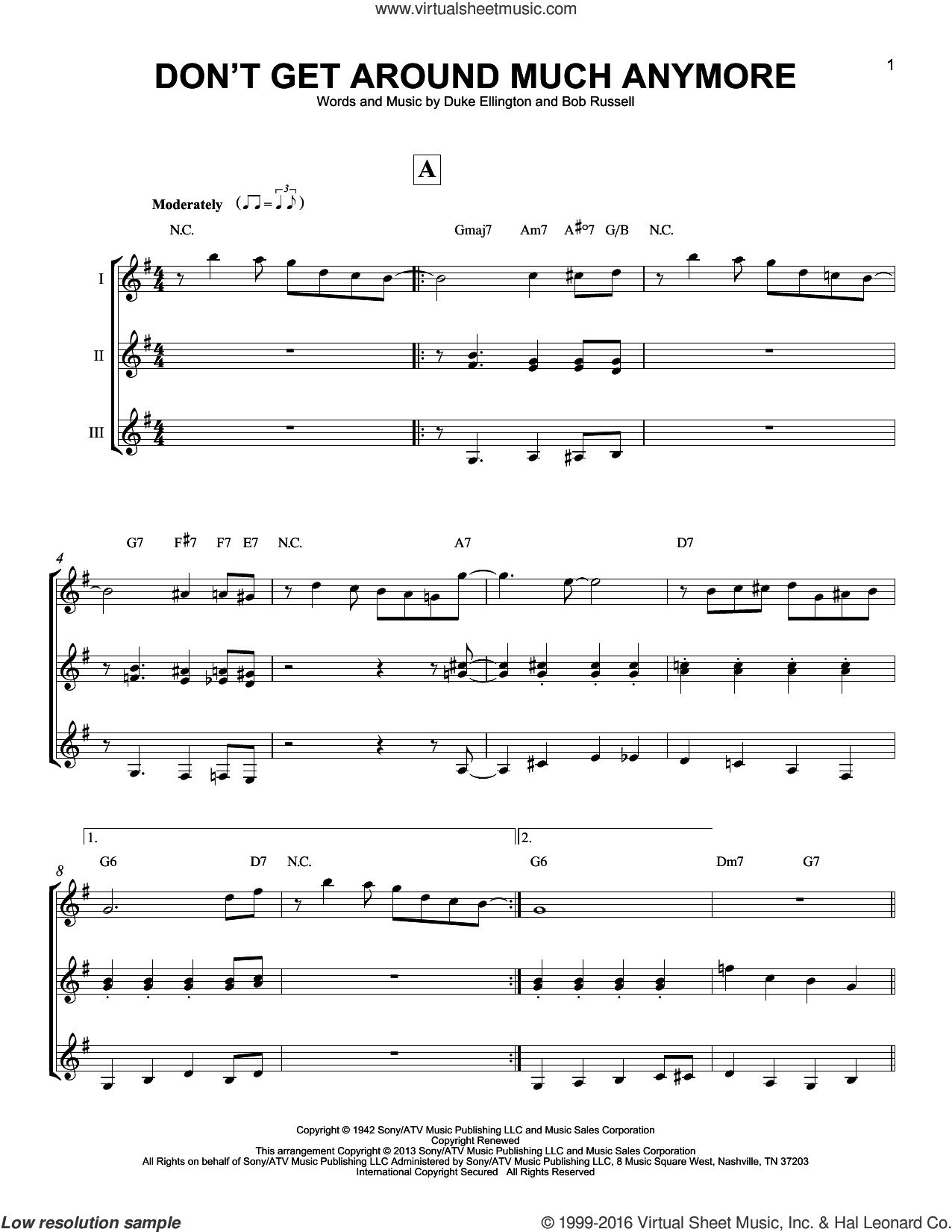 Don't Get Around Much Anymore sheet music for guitar ensemble by Duke Ellington and Bob Russell, intermediate guitar ensemble. Score Image Preview.