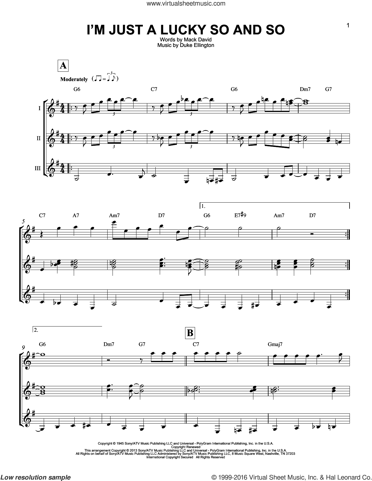 I'm Just A Lucky So And So sheet music for guitar ensemble by Mack David and Duke Ellington. Score Image Preview.