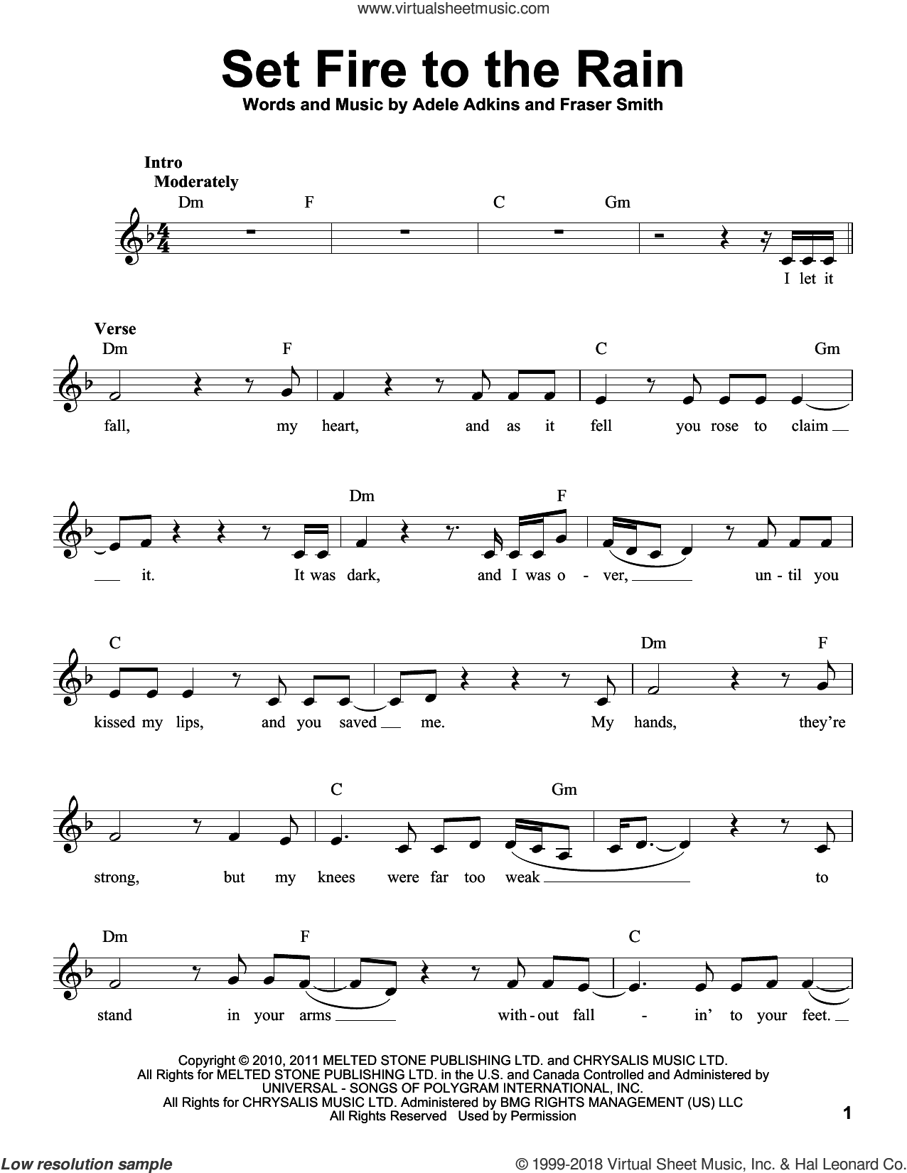 Set Fire To The Rain sheet music for voice solo by Adele, intermediate voice. Score Image Preview.