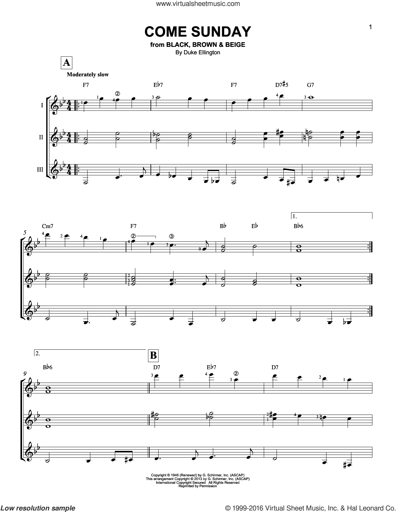 Come Sunday sheet music for guitar ensemble by Duke Ellington, intermediate. Score Image Preview.