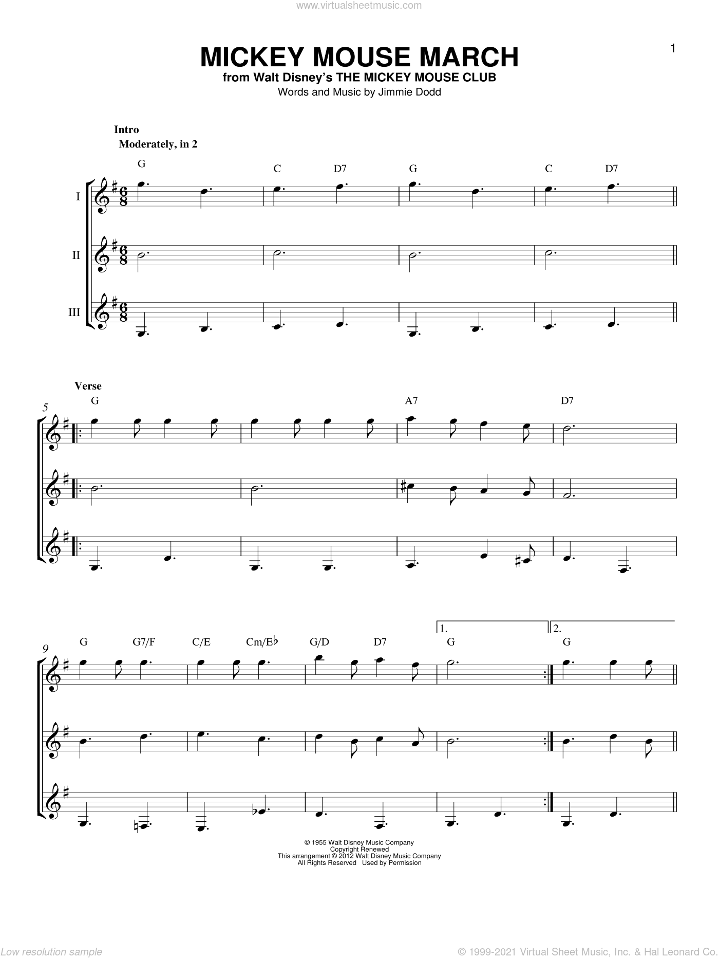 Mickey Mouse March sheet music for guitar ensemble by Jimmie Dodd, intermediate skill level