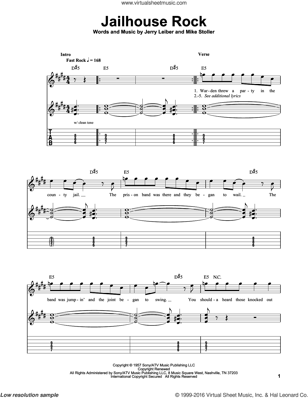 Jailhouse Rock sheet music for guitar solo (easy tablature) by Mike Stoller, Elvis Presley and Jerry Leiber. Score Image Preview.