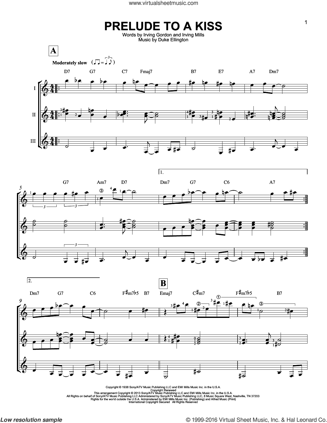 Prelude To A Kiss sheet music for guitar ensemble by Duke Ellington, Irving Gordon and Irving Mills, intermediate guitar ensemble. Score Image Preview.