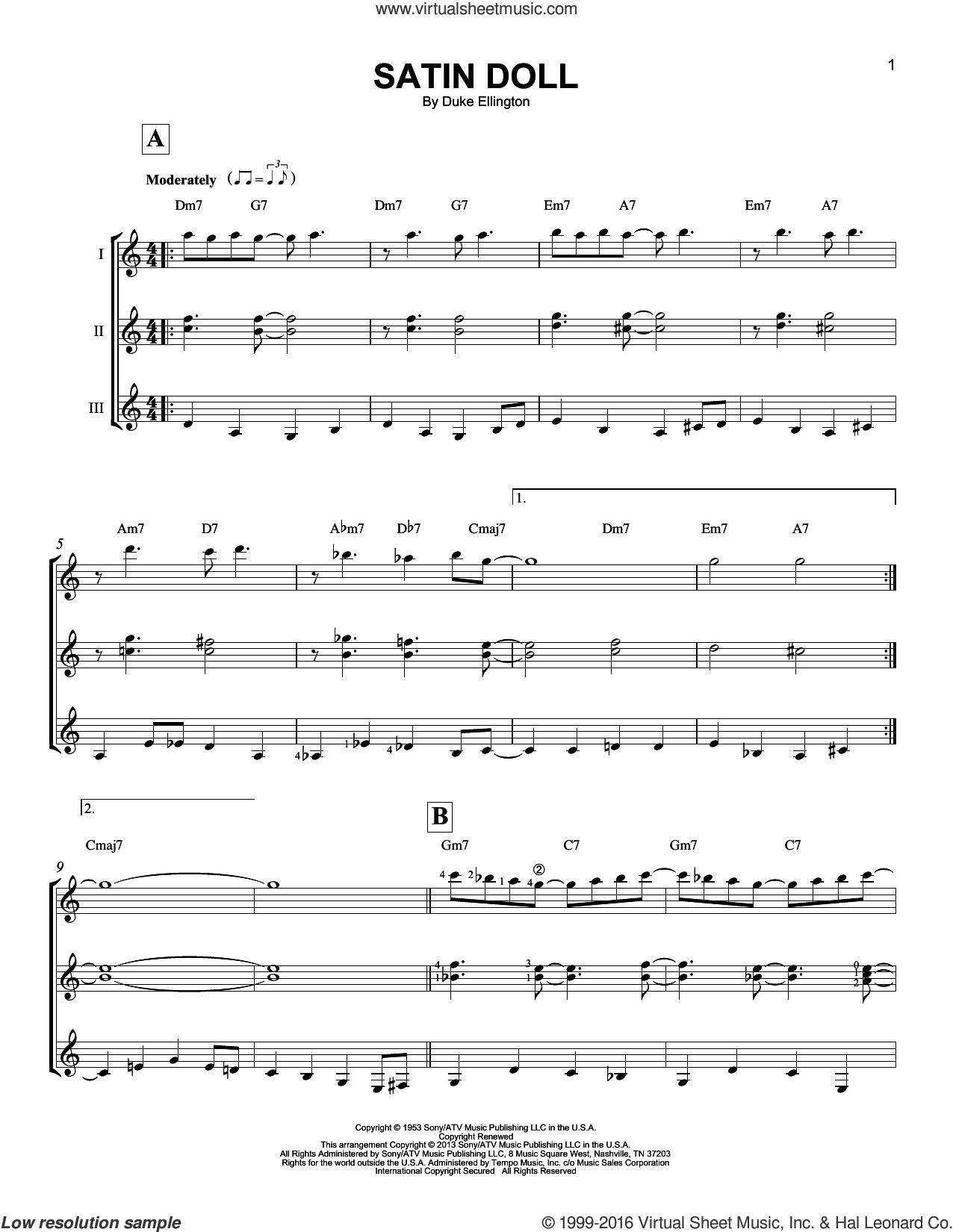 Satin Doll sheet music for guitar ensemble by Duke Ellington, Billy Strayhorn and Johnny Mercer, intermediate skill level
