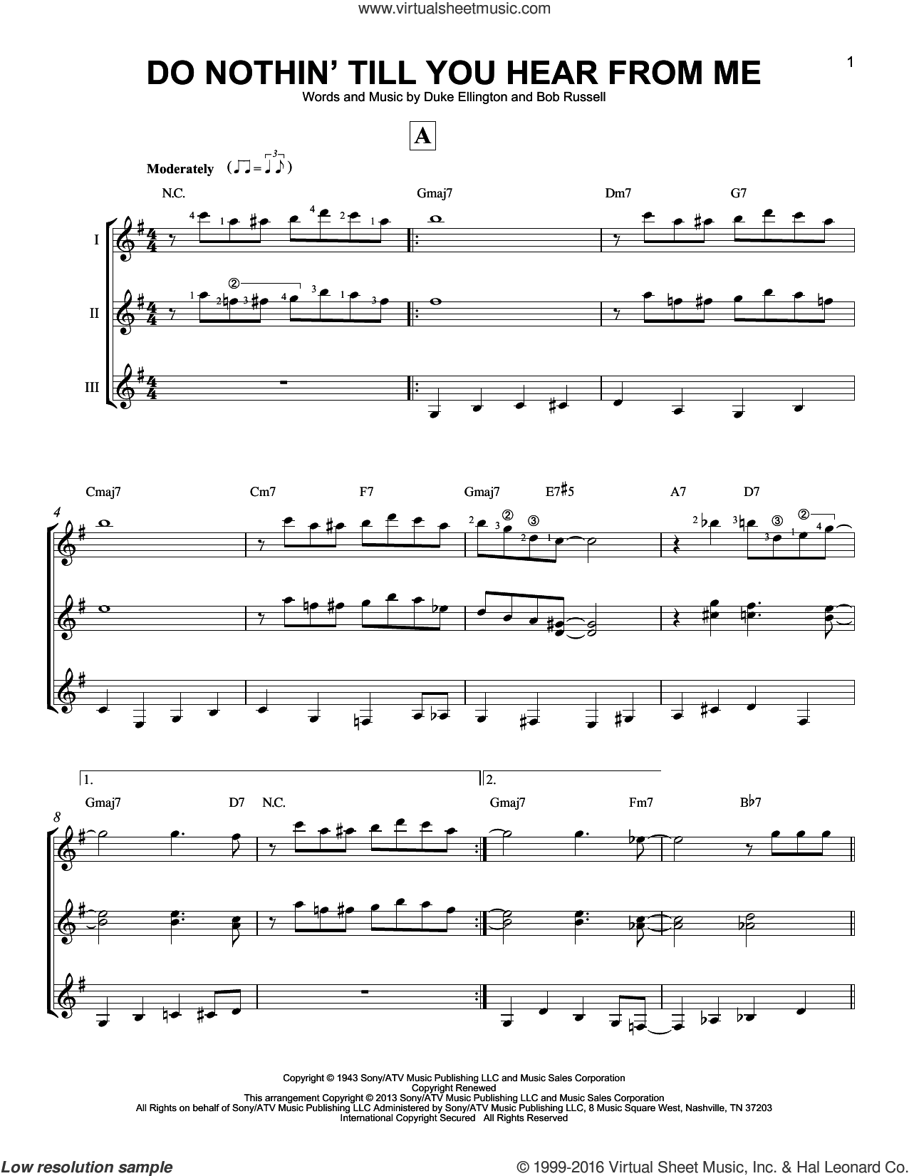 Do Nothin' Till You Hear From Me sheet music for guitar ensemble by Duke Ellington and Bob Russell, intermediate skill level