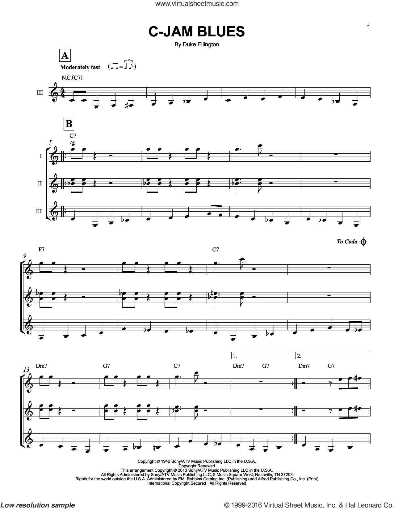 C-Jam Blues sheet music for guitar ensemble by Duke Ellington, intermediate