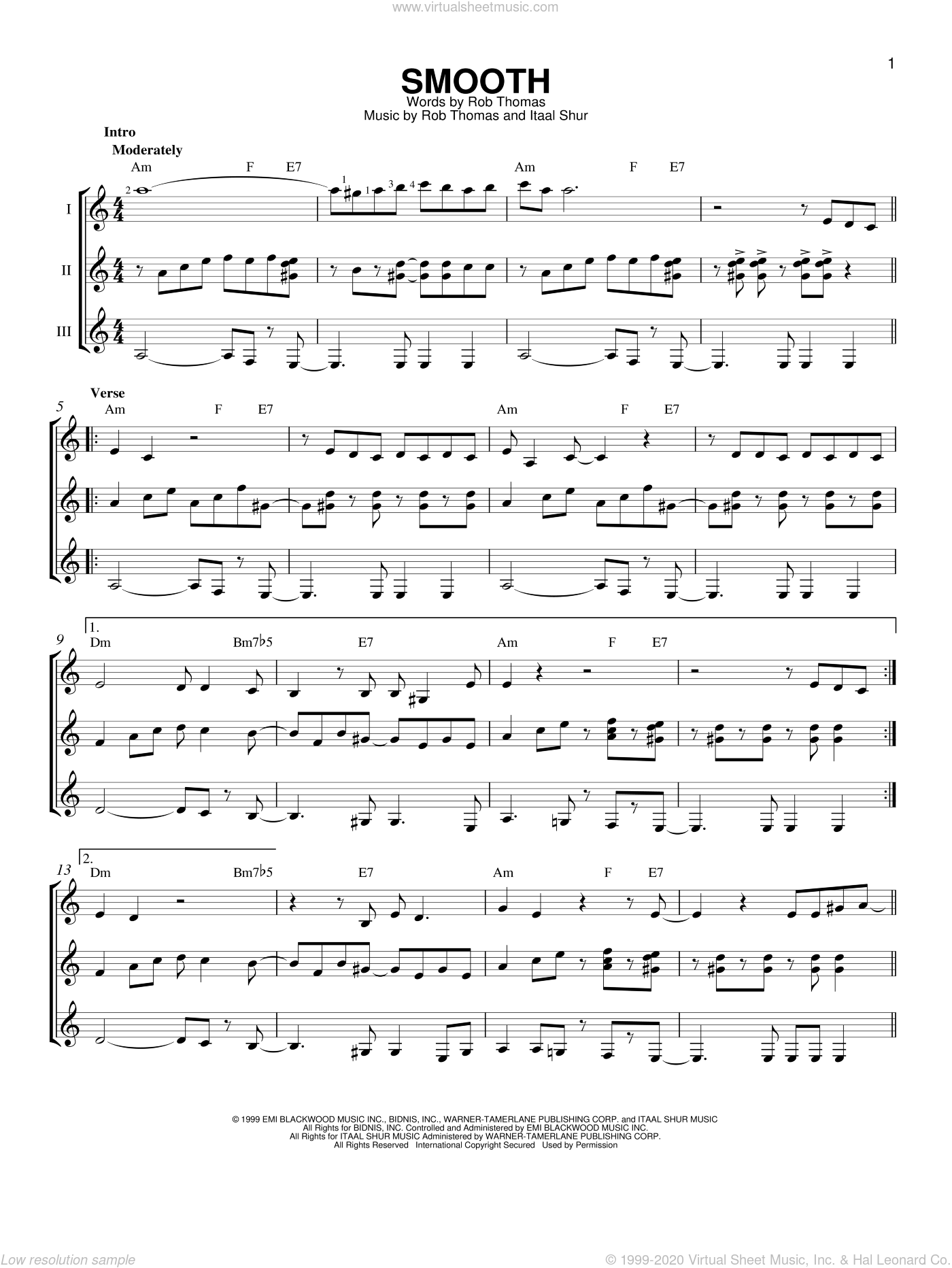 Smooth sheet music for guitar ensemble by Rob Thomas, Santana featuring Rob Thomas and Itaal Shur. Score Image Preview.