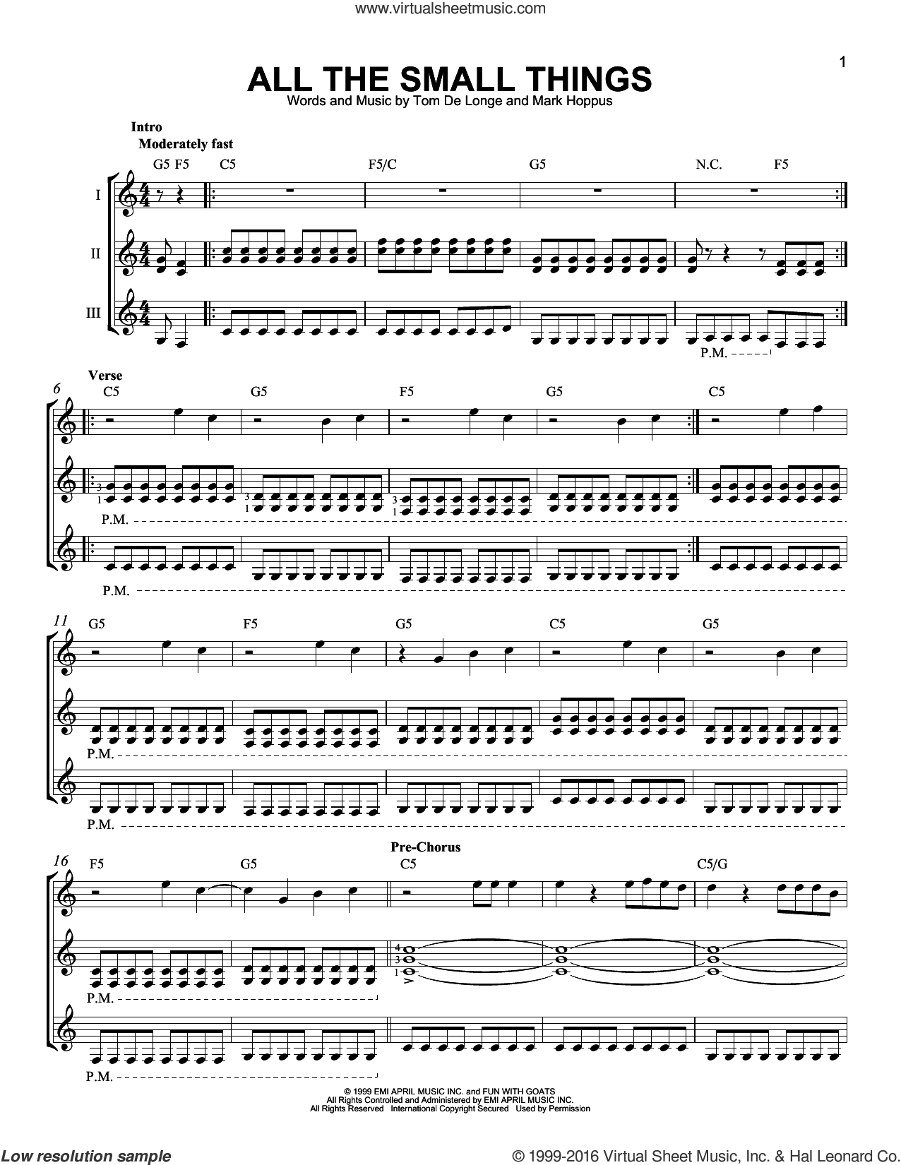 All The Small Things sheet music for guitar ensemble by Travis Barker, Mark Hoppus and Tom DeLonge. Score Image Preview.