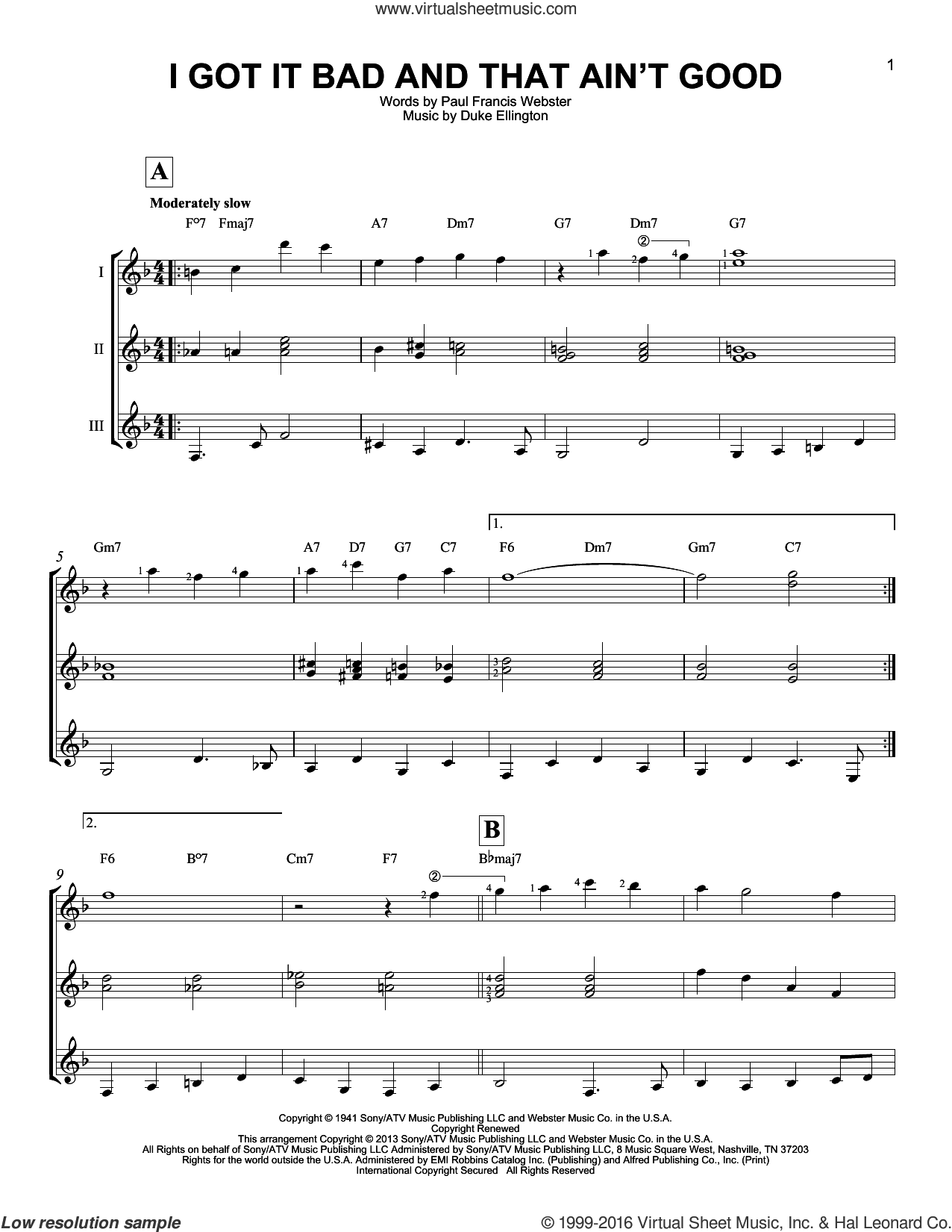 I Got It Bad And That Ain't Good sheet music for guitar ensemble by Duke Ellington and Paul Francis Webster, intermediate skill level