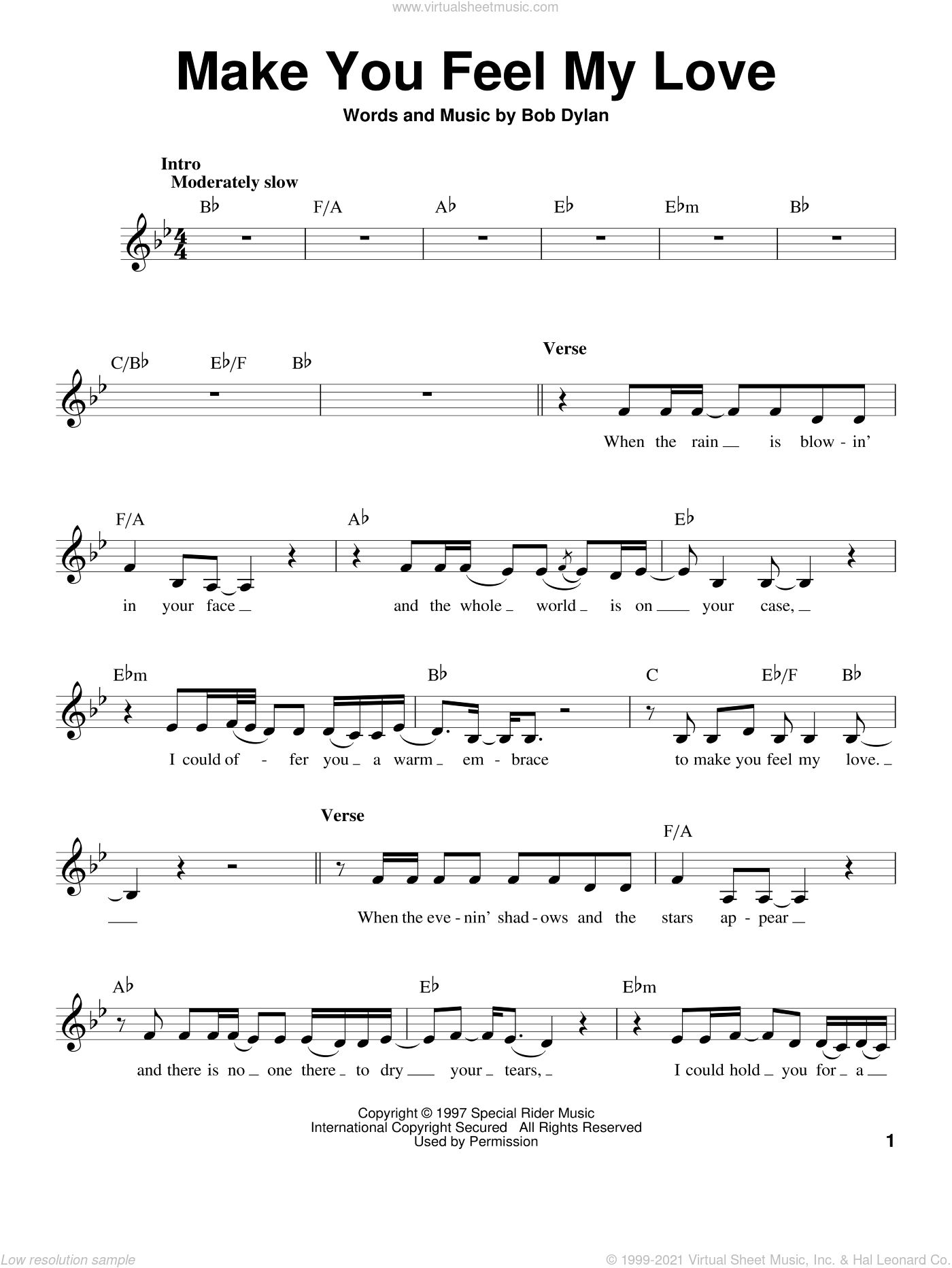 Make You Feel My Love sheet music for voice solo by Adele and Bob Dylan, intermediate skill level