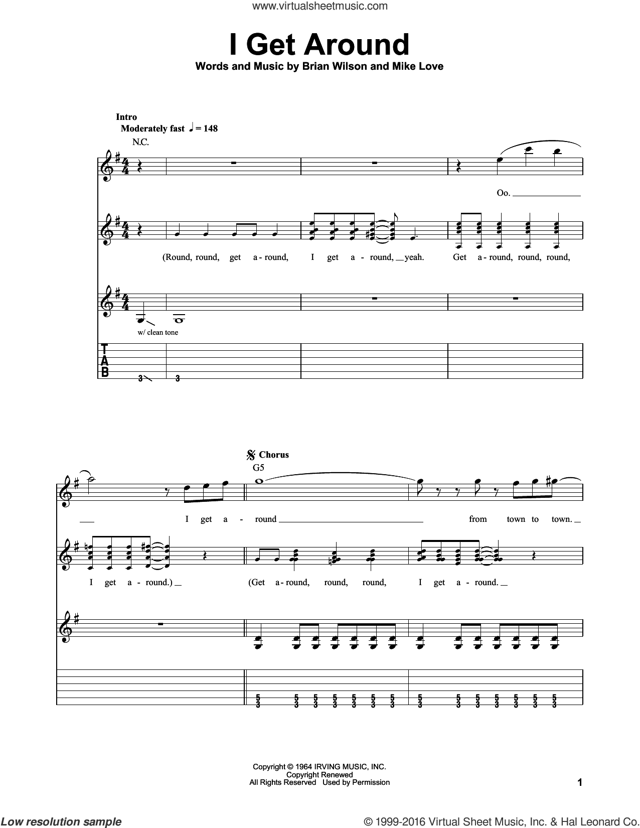 I Get Around sheet music for guitar solo (easy tablature) by The Beach Boys, Brian Wilson and Mike Love, easy guitar (easy tablature)