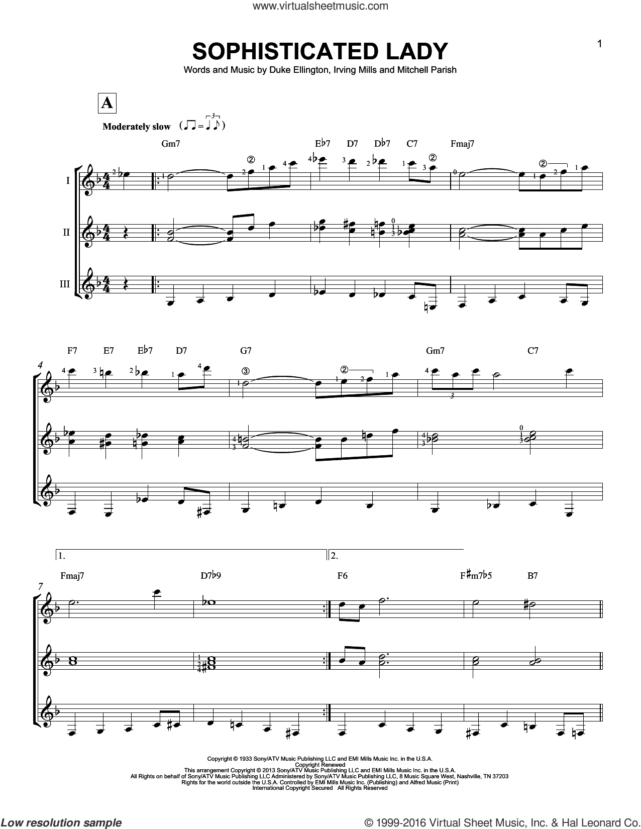Sophisticated Lady sheet music for guitar ensemble by Mitchell Parish, Duke Ellington and Irving Mills. Score Image Preview.